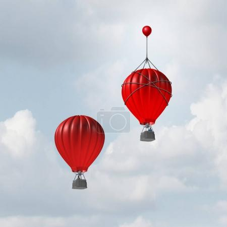 Photo pour Concept d'avantage et d'avantage concurrentiel comme deux montgolfières en course vers le haut, mais un leader avec un petit ballon attaché donnant au concurrent gagnant un coup de pouce supplémentaire pour gagner la compétition avec des éléments d'illustration 3D . - image libre de droit