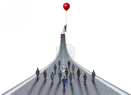 Photo for Managing business success ambitions concept as a management and team manager symbol as a businessman lifting a road up with a balloon as a leadership metaphor with 3D illustration elements on white. - Royalty Free Image