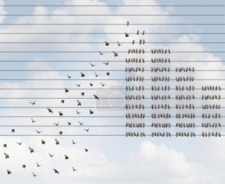 Photo pour Adhésion de plus en plus et de recruter une équipe de grand abonnement comme nouveaux membres réunissant les oiseaux sur un fil avec un groupe de plus en plus recrute en ajoutant à l'organisation avec des éléments d'illustration 3d. - image libre de droit