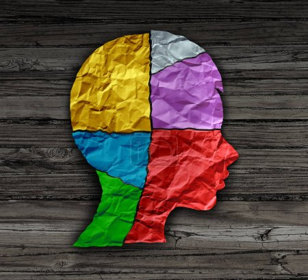 Photo for Child mood psychology change as a young person head shape made from crumpled paper as a mental health metaphor for brain thinking disorder and neurology chemistry imbalance or personality changes in a 3D illustration style. - Royalty Free Image