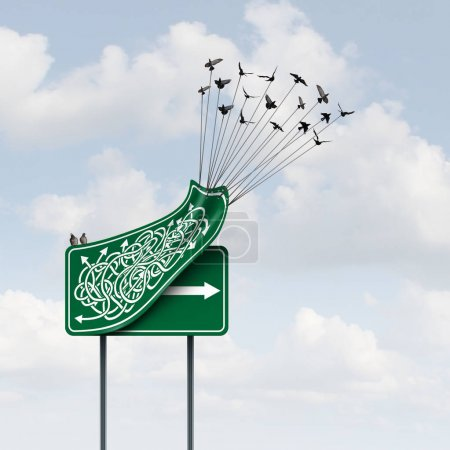 Photo for Business way concept as a group of birds lifting up a confused direction sign revealing a clear straight arrow as a solution path metaphor with 3D illustration elements. - Royalty Free Image