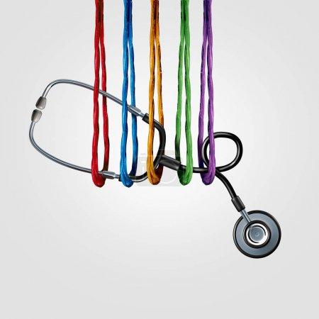Photo pour Soutien médical ensemble et équipe d'assurance-santé ou de médecine collaborent aux services communautaires, aidant en tant que groupe diversifié de cordes soutenant un stéthoscope médical avec des éléments d'illustration 3D . - image libre de droit