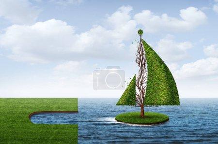 Photo pour Explorez le concept d'entreprise d'opportunité comme un arbre en forme de bateau comme une métaphore pour naviguer vers le succès avec des éléments de rendu 3D . - image libre de droit