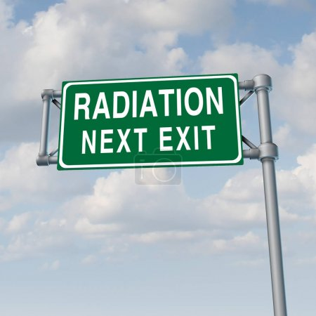 Photo for Radiation crisis concept and toxic nuclear leak warning symbol with 3D illustration elements. - Royalty Free Image