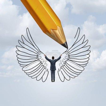 Photo pour Créer du succès et libérer le potentiel humain comme un crayon dessinant des ailes sur une personne comme une métaphore pour apprendre à voler dans la vie avec des éléments d'illustration 3D . - image libre de droit