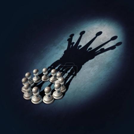 Photo pour Leadership Concept en tant que groupe de pions d'échecs planifiant et conspirant pour mener comme illustration 3D . - image libre de droit