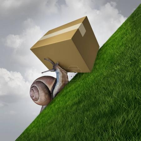 Photo for Slow delivery and package shipping as a snail pushing a cardboard box parcel up ahill as a postal service concept with 3D illustration elements. - Royalty Free Image