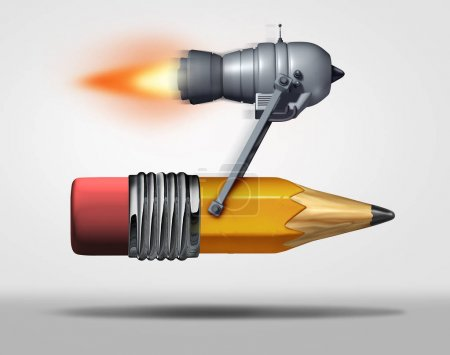 Photo for Fast learning and quick education service as a jet engine attached to a pencil as a symbol for  training and  efficient schooling as a 3D illustration. - Royalty Free Image