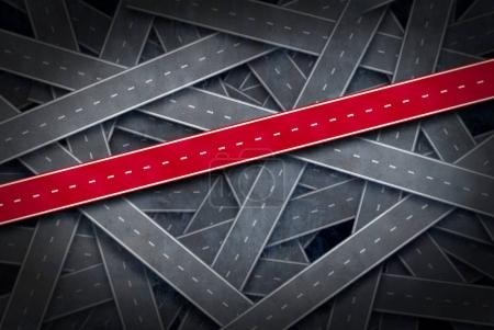 Photo pour Chemin d'accès au concept de réussite et de suivre l'idée de la bonne voie en tant que groupe de routes et une voie rouge comme une métaphore de direction de carrière ou de vie dans un style d'illustration 3d. - image libre de droit