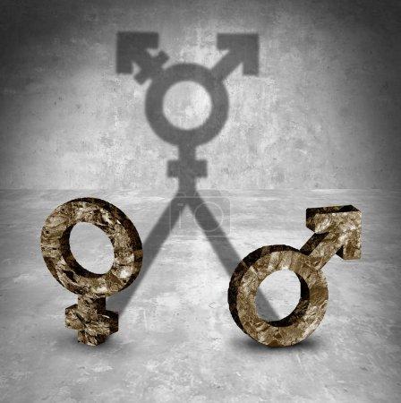 Photo pour Concept d'identité sexuelle neutre et transgenre en tant que symbole masculin et féminin jetant une ombre dans un style d'illustration 3D . - image libre de droit
