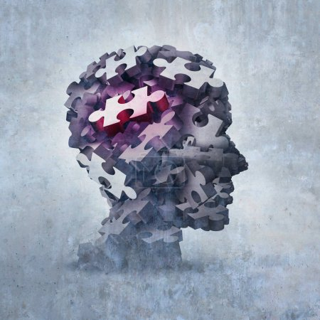 Photo for Neurosis mental disorder concept as an obsessive behavior psychiatric and psychology symbol as a 3D illustration. - Royalty Free Image