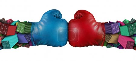 Photo for Trade war dispute economic fight business concept as national trade tariff disagreement and export or import duties argument fighting with 3D illustration elements. - Royalty Free Image