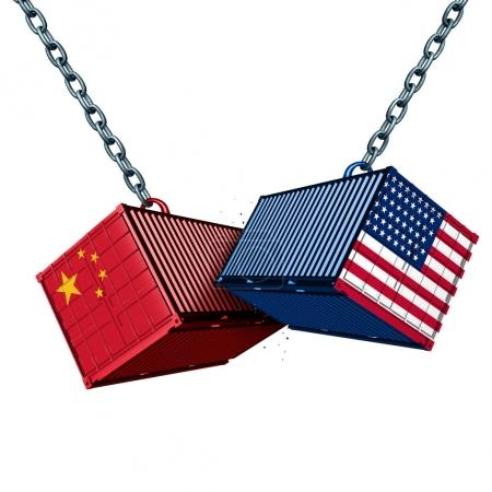 Photo for Chinese and American tariff war as a China USA trade problem as two cargo containers in conflict as an economic dispute over import and exports concept as a 3D illustration. - Royalty Free Image