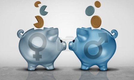 Photo for Pay equity and economic gender gap business concept as two piggy bank objects with male and female symbol showing salary inequality as a 3D illustration. - Royalty Free Image