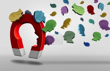 Photo pour Aimant de recrutement et de recrutement d'employés ou de candidats concept de recrutement d'entreprise ou d'attirer des clients ou des adeptes idée comme un aimant attirer les gens comme une illustration 3D . - image libre de droit