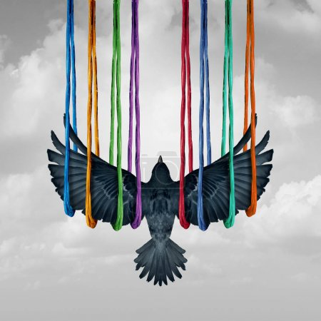 Photo for Concept and ideas and support system metaphor as a surreal idea with a bird lifted by a group of diverse ropes in a 3D illustration style. - Royalty Free Image