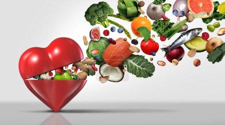 Photo pour Concept d'alimentation saine et ingrédients nutritionnels pour la santé cardiaque avec fruits légumes noix poisson et haricots comme régime alimentaire naturel avec des éléments d'illustration 3D . - image libre de droit