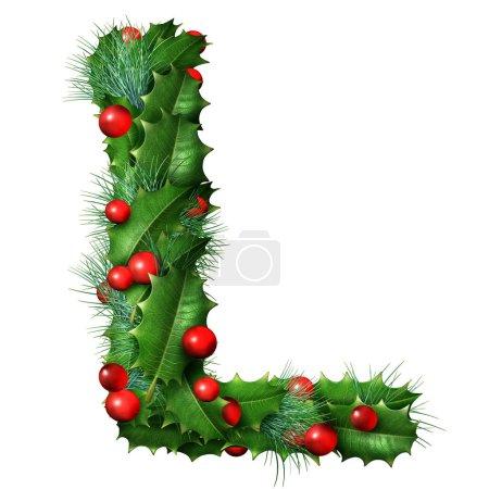 Photo pour Lettre de police de vacances L comme une guirlande décorée d'hiver festive comme un alphabet saisonnier de Noël ou du Nouvel An lettrage isolé sur un fond blanc comme illustration 3D . - image libre de droit