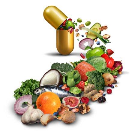 Photo pour Complément nutritionnel naturel et médicaments vitaminés comme une pilule ouverte avec des fruits légumes noix et haricots à l'intérieur d'un produit nutritif comme un produit de bien-être et de fitness avec des éléments d'illustration 3D . - image libre de droit