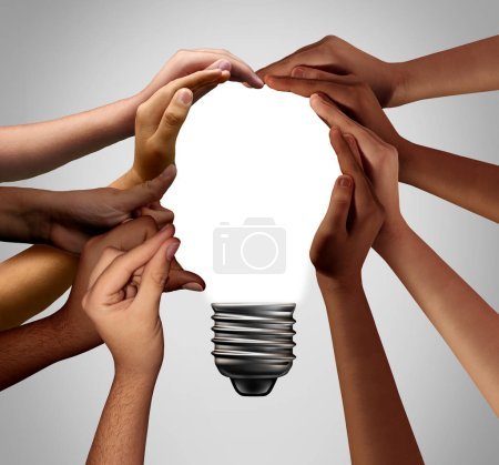 Photo for Human idea bulb concept as diverse creative people joining together with 3D illustration elements. - Royalty Free Image