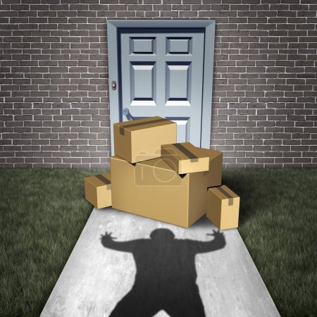 Package theft and porch pirate thief stealing pack...