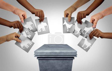 Foto de Elecciones estadounidenses con grupos de votantes republicanos conservadores y demócratas liberales que votan en público como un voto comunitario tan diverso emitiendo votos como un derecho democrático en los Estados Unidos con tres elementos ilustrativos.. - Imagen libre de derechos