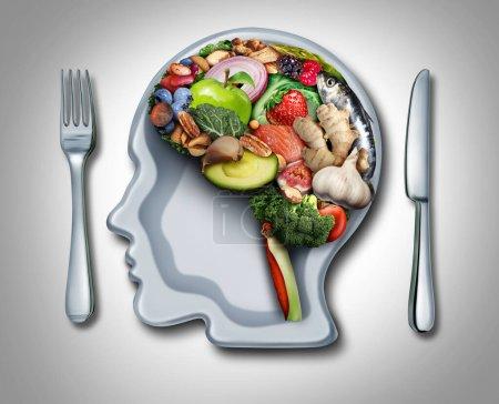 Photo pour Alimentation cérébrale et psychologie alimentaire ou psychiatrie nutritionnelle en tant qu'aliment sain en forme d'organe pensant avec une plaque en forme de tête humaine avec des éléments d'illustration 3D . - image libre de droit