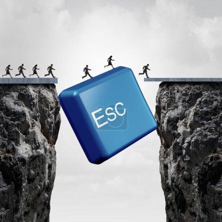 Concepto de escape de negocios e idea de éxito corporativo o superar un obstáculo como un botón de computadora esc cerrando la brecha con elementos de ilustración 3D .