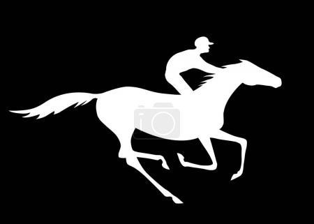 Ilustración de Carrera de caballos del vector y el jinete. Ilustración de vector de blanco y negro - Imagen libre de derechos