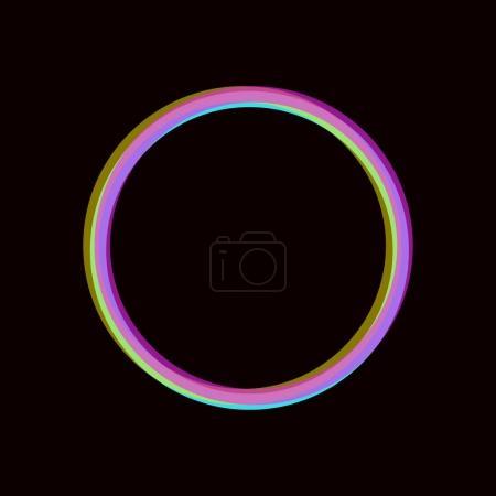 Ilustración de Marco de círculo colorido semitono negro. Fondo de neón efecto estéreo. Vector plantilla de ronda - Imagen libre de derechos