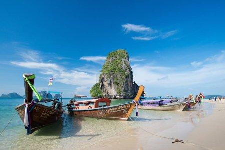 boats  along the Phra Nang Cave Beach