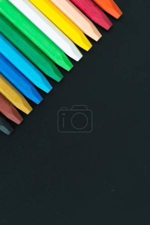 Row of wax crayons