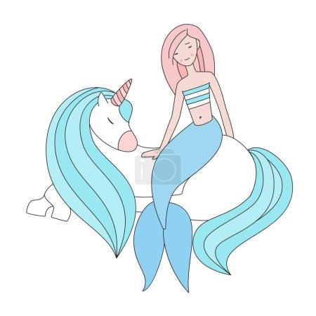 Illustration for Aquamarine mane and unicorn tail. Best friends - Royalty Free Image