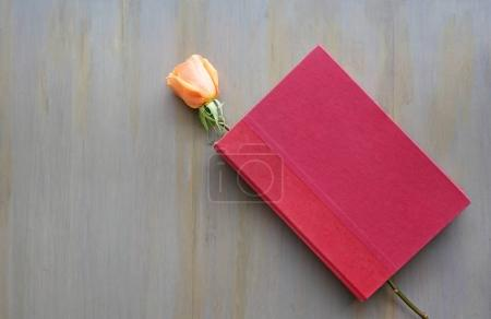 Rose flower and red hardcover.