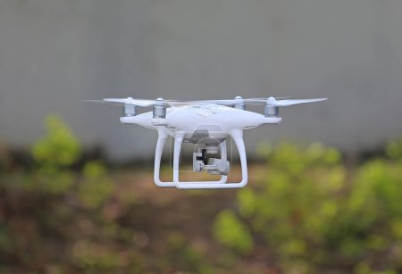 Drone flying in the air at the park