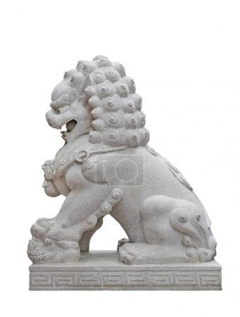 Chinese Imperial Lion Statue, Isolated on white background.