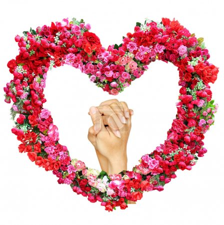 Loving hands clasped of man and woman in heart of roses flower isolated on white background.
