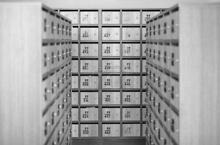 Grid Sorted Array Columns Rows Mailboxes Wooden Security Storage Mail room, Black and white tone.