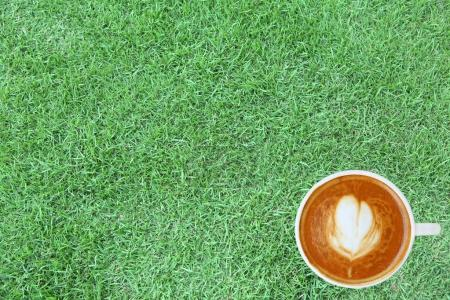 Top view of a coffee with heart pattern in a white cup on green grass  background, latte art