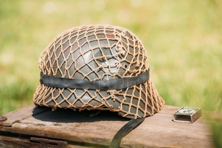 Close Metal Helmet Of Infantry Soldier Of Wehrmacht, Nazi German
