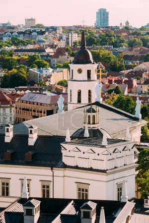 Vilnius, Lithuania. View Of Bell Tower Chapel, Angels On Roof Of