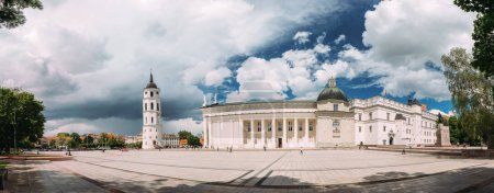 Vilnius, Lithuania. Panorama Of Bell Tower Chapel And Cathedral