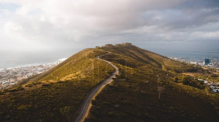 Photo for Scenic landscape wit hill and path from above - Royalty Free Image