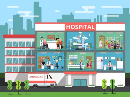 Illustration for Hospital rooms with medical personnels, doctors and patients. Clinic building vector illustrations. Interior of clinical or hospital, medical reception office department clinic - Royalty Free Image