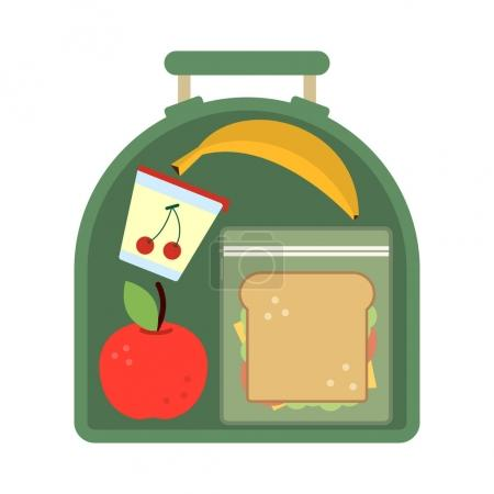 Illustration for Lunchbox with food. Meal, apple and sandwich. Healthy cartoon vector illustration. School lunch apple with banana, food lunch box - Royalty Free Image