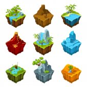 Fantasy isometric islands with vulcans different plants and rivers Interface elements in cartoon style Vector pictures for computer games