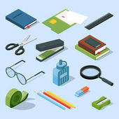 Books paper documents in folders and other base stationary elements set Vector isometric office equipment stationary element scissor and stapler illustration