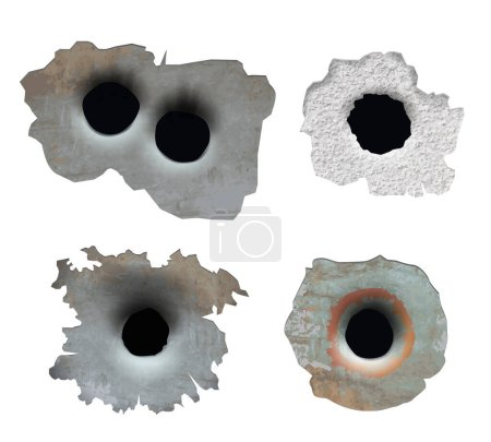Bullet hole. Crush damaged crack glass from gun smashes pieces broken surface vector bullet lines