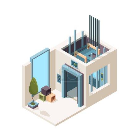 Elevator room. Building machine hall elevator cabi...