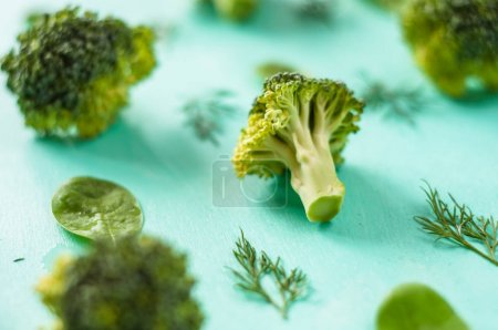 Photo for Pattern of broccoli, spinach, fennel, vegetarian, healthy eating concept - Royalty Free Image